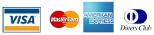 Visa, Mastercard, American Express, Diners Club